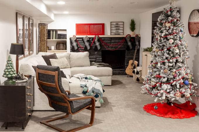 BrightGreenDoor Christmas Basement Living Room